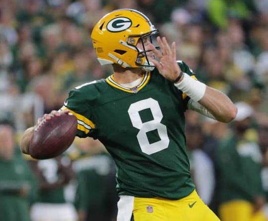 Green Bay Packers quarterback Tim Boyle (8) throws a pass during the first quarter of their pre-season game against the Kansas City Chiefs Thursday, August 29, 2019 at Lambeau Field in Green Bay, Wis,
