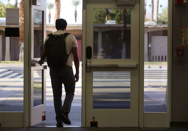 College of the Desert student, Zeke, who is undocumented and preferred not to share his last name, lacks DACA protection and lives in fear of deportation. Zeke, resides with is aunt and is pursuing a career in math and science. He is photographed on campus in Palm Desert, Calif. on Wednesday, August 28, 2019.