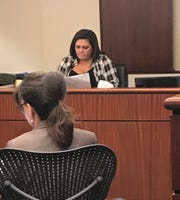 Palm Springs police Officer Lesley Zerebny's sister, Britta Kling, makes emotional plea at a sentencing hearing Friday, Aug. 30, 2019, for a judge to follow a jury's recommendation to sentence cop killer John Hernandez Felix to death.