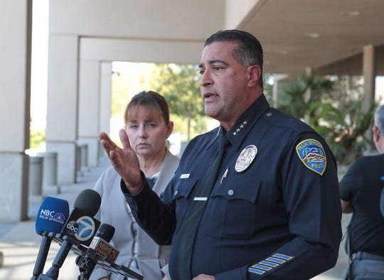 Palm Springs Police Chief Bryan Reyes speaks with the media after the John Hernandez Felix sentencing hearing at the Larson Justice Center in Indio, August 30, 2019.