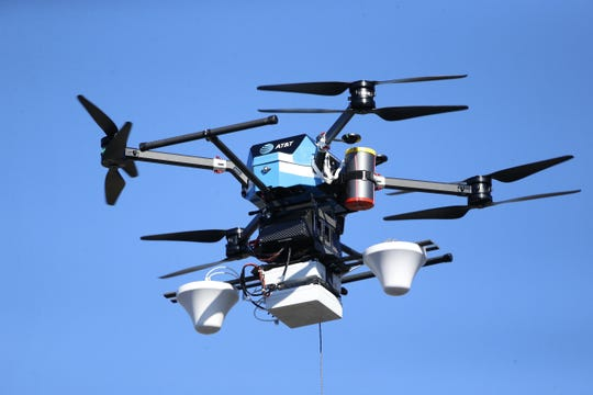 AT&T says it will utilize multi-rotor Flying COWs like these during Hurricane Dorian.