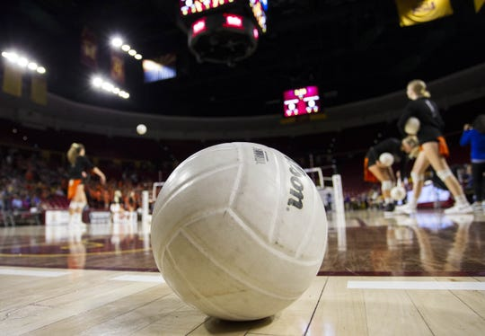 Generic girls volleyball shots during the state championship games at Wells Fargo Arena in Tempe, Wednesday, Nov. 7, 2018. ICON