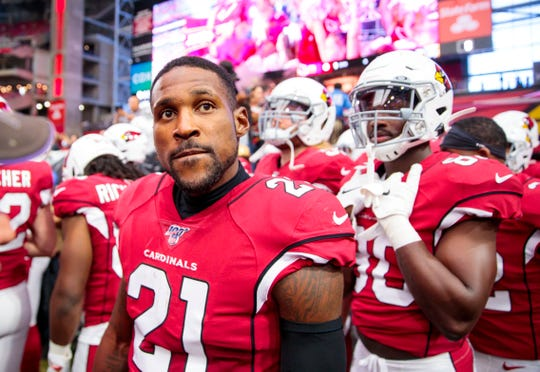Arizona Cardinals cornerback Patrick Peterson (21) will be a stranger to his team for six weeks, unable to even keep his playbook.