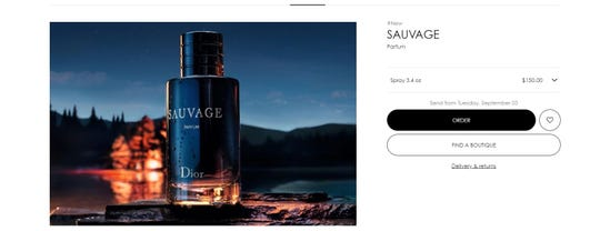 The parfum was being sold for $150 on Dior's official website.