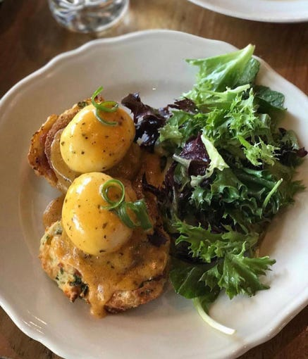 The fried green tomato benedict at Southern Rail.