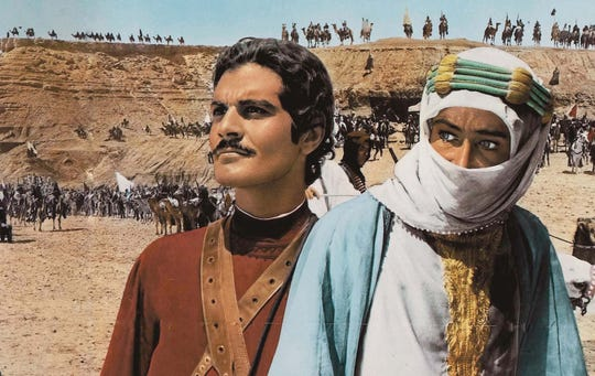 """Omar Sharif (left) and Peter O'Toole star in """"Lawrence of Arabia"""" (1962)."""