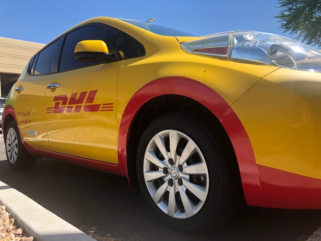 A DHL car sits outside the DHL Express customer service hub on Friday, August 30.