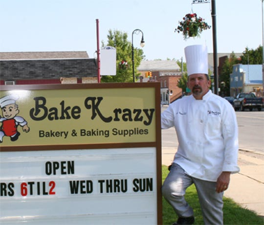 Baker and owner Brian Klauss, 63, outside Bake Krazy Bakery in Port Sanilac. The bakery will be closing permanently on Sept. 1, 2019.