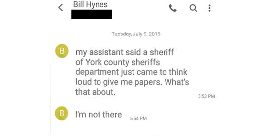 The York Daily Record/Sunday News obtained phone records that reveal how Bill Hynes, 47, the founder and CEO of United Fiber & Data, was served with a temporary protection-from-abuse order and allowed to park in a secure area of the York County Judicial Center. On July 9, Hynes texted York County Sheriff Richard Keuerleber at 5:33 p.m. after deputy sheriffs had attempted to serve the court documents.