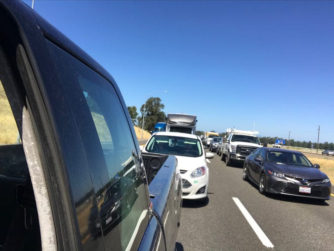 Southbound lanes of Interstate 5 are at a standstill on Friday, Aug. 30, 2019 in Cottonwood.