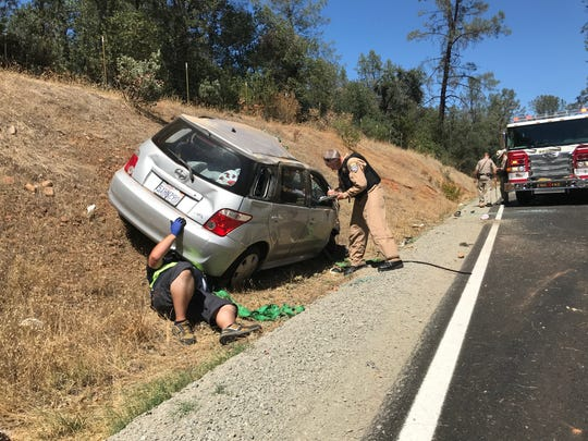 A woman was injured Friday, Aug. 30, 2019 in a rollover crash on Canyon Road south of Redding.