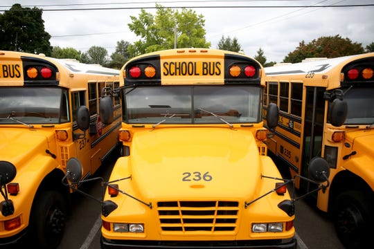 School buses at the Salem-Keizer Public Schools transportation department in Salem on Aug. 30, 2019. The district is still hiring more bus drivers for this school year.
