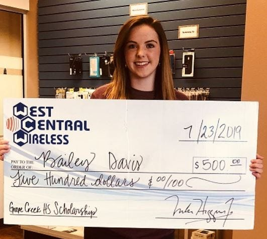Bailey Davis from Grape Creek High School was awarded a $500 scholarship from West Central Wireless.