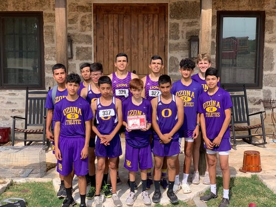 The Ozona High School boys cross country team wins first place at the Toe Nail Trail Classic Aug. 28, 2019, in Christoval, Texas.