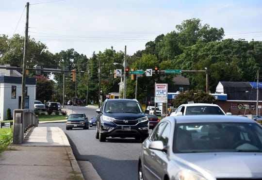 Traffic flows through the intersection of Riverside Drive, Carroll Street, Mill Street and Camden Avenue in Salisbury, on Aug. 28, 2019. Plans to replace the busy intersection with a large traffic circle will break ground in September.