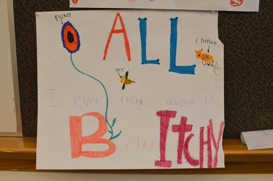 A poster drawn by a child with the life-threatening genetic disease PFIC, which causes liver failure and produces an insatiable and severe itching all over the body. With help from the PFIC Network, a nonprofit advocacy group for families with PFIC, 22 families gathered in Cincinnati in June 2019 for the first-ever PFIC Family Conference. Families from around the world got together to discuss the genetic disease, get to know others who understand living with PFIC, and have fun.