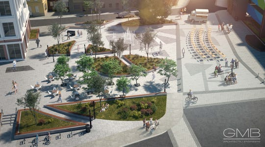 Rendered plans for the Town Square at city center in Salisbury.