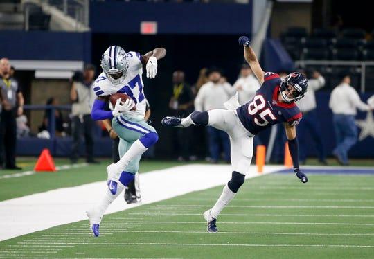 Dallas Cowboys defensive back Donovan Wilson (37) makes one of his three preseason interceptions.