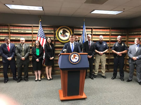 U.S. Attorney for the Western District of Louisiana David Joseph addresses the media on Friday morning.