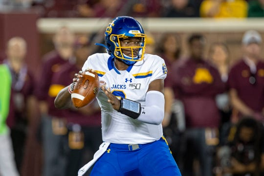 Aug 29, 2019; Minneapolis, MN, USA; South Dakota State Jackrabbits quarterback J'Bore Gibbs (2) drops back for a pass in the first half against the Minnesota Golden Gophers at TCF Bank Stadium. Mandatory Credit: Jesse Johnson-USA TODAY Sports