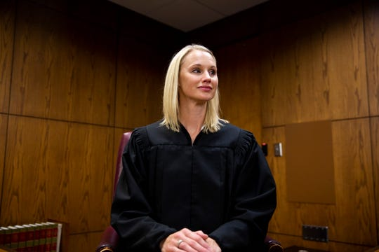 Judge Rachel Rasmussen poses for a portrait at the Minnehaha County Courthouse on Friday, Aug. 30. Rasmussen was recently appointed to serve as a new judge in the Second Circuit.