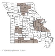 Map shows CWD Management Zones in Missouri, where deer infected with the disease have been found.
