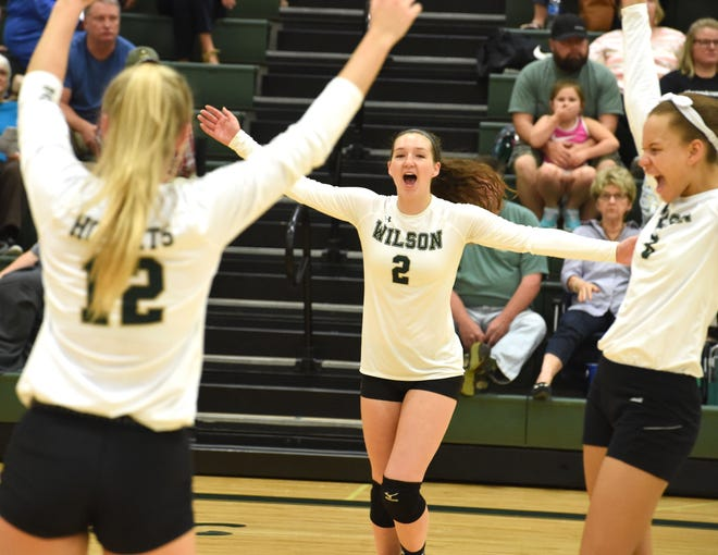 Wilson Memorial's Cassidy Davis  (2) is back earlier than even she expected after an ACL tear ended her 2018 volleyball season.