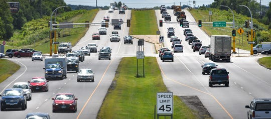 Traffic moves along Minnesota Highway 15 Friday, Aug. 30, 2019, in St. Cloud. According to state officials, traffic fatalities increased by 6%in Minnesota in 2018.