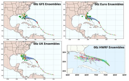 Hurricane Dorian ensemble models as of Friday morning.