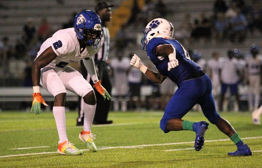 Trinity Christian five-star defensive back Fred Davis, a Clemson commit, defends Godby receiver Alvin Jones as Trinity Christian beat Godby 45-42 in overtime on Thursday, Aug. 29, 2019.