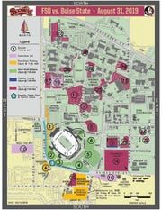 A map highlighting where fans will be able to park for the Florida State-Boise State game. Parking is first come, first serve in all open lots.
