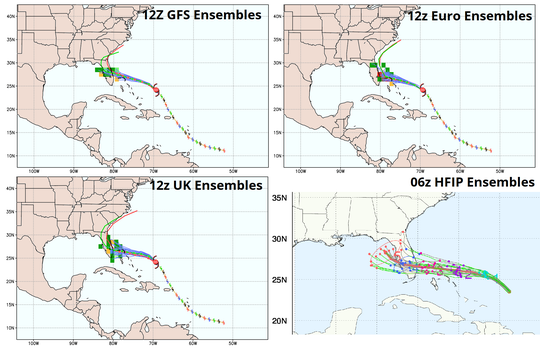 Hurricane Dorian 5 p.m. Friday ensemble models.