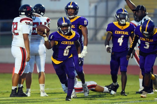 Fort Pierce Central defensive back Dae'Quan Ambrister celebrates a fumble recovery during the third quarter of the Cobras' 40-0 win against South Fork on Aug. 29. 2019 at Lawnwood Stadium in Fort Pierce.