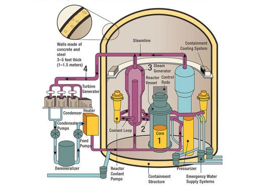 A diagram of a pressurized water reactor, like the pair at the St. Lucie Nuclear Power Plant in St. Lucie County, Fla.