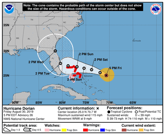 The projected path of Hurricane Dorian at 5 p.m. Friday, Aug. 30.