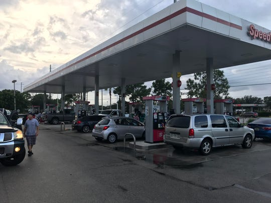 Lines at fuels pumps Friday morning at Speedway on U.S. 1 in Jensen Beach