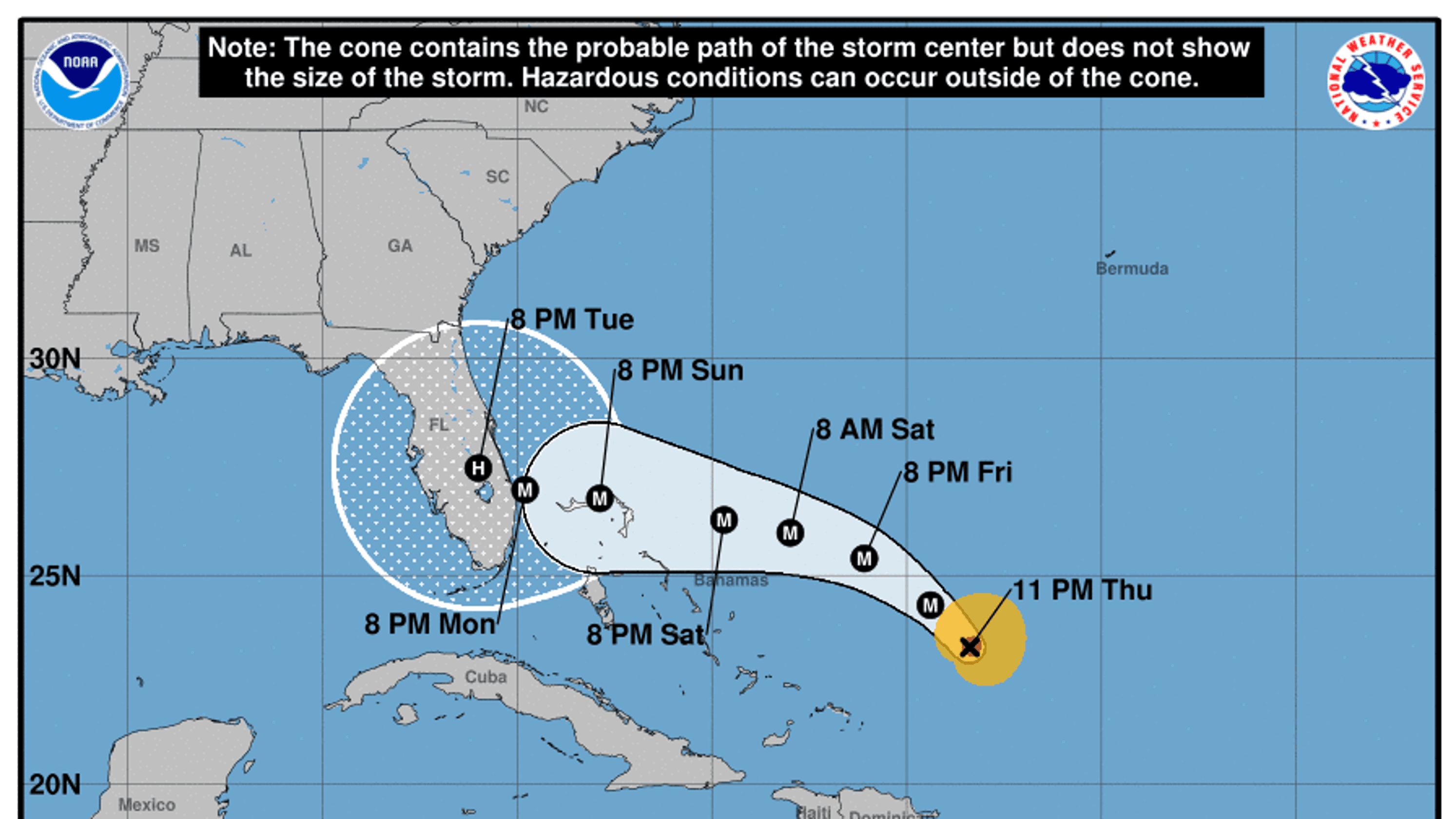 Hurricane Dorian forecast to become major hurricane on Friday on