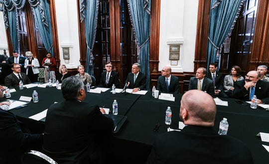 "Gov. Greg Abbott convened the first meeting of the Domestic Terrorism Task Force on Friday, Aug. 30, 2019, at the Capitol in Austin. ""This meeting is the beginning of an ongoing process to ensure that we consider every strategy and take effective and meaningful action to undermine and eradicate domestic terrorism in Texas,"" Abbott said."