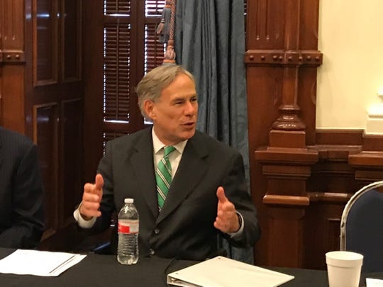 Gov. Greg Abbott convenes the state's Domestic Terrorism Task Force on Friday, Aug. 30, 2019, in Austin.
