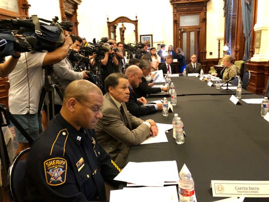Gov. Greg Abbott brought together the Domestic Terrorism Task Force on Friday, Aug. 30, 2019, in Austin. The group was formed as a result of the Aug. 3, 2019, mass shooting in El Paso. El Paso police chief Greg Allen is second from bottom.