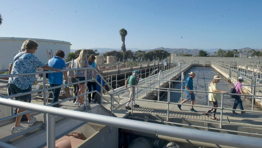 A group finishes its tour of the Ventura Water Reclamation Facility in Ventura.