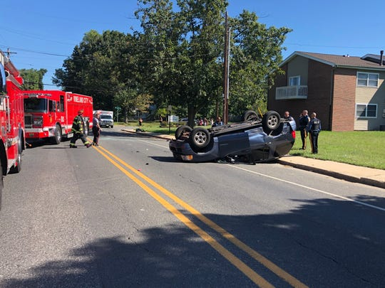 A vehicle overturned after a collision on East Avenue, near Florence Avenue, on Aug. 30, 2019.