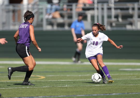 John Jay-Cross River plays Monroe-Woodbury in a girls varsity soccer scrimmage at Brewster High School on Friday, August 30, 2019.