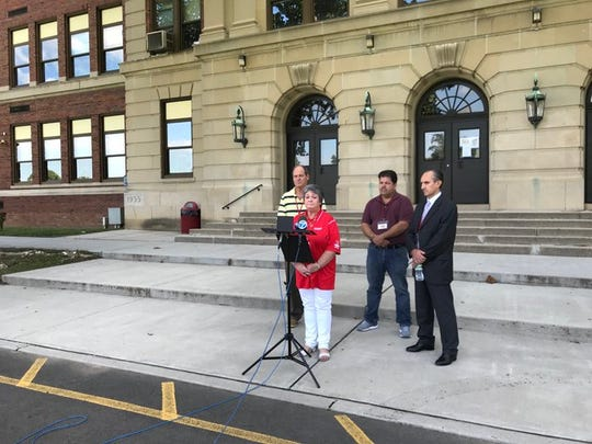 School officials talk about the raccoon and fleas problem and asbestos abatement at Haverstraw Elementary School, Friday, Aug. 30, 2019. Students will spend the first days of school at other buildings.