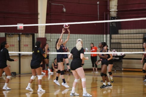 Ossining hosts a multi-team volleyball scrimmage at Ossining High School on Friday, August 30, 2019.