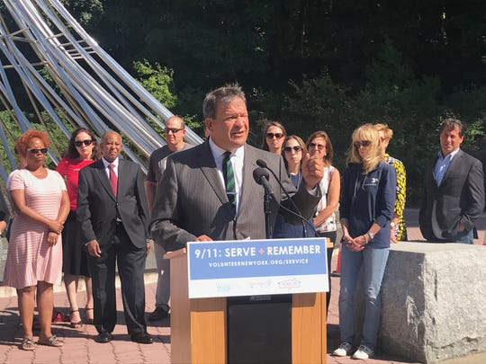 Westchester County Executive George Latimer speaks at a launch event for 9/11 Day of Service programs on Thursday, Aug. 29, 2019 at The Rising at Kensico Dam. The day of service is organized by Volunteer New York!