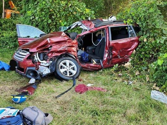 A crashed subaru in Harbeson.