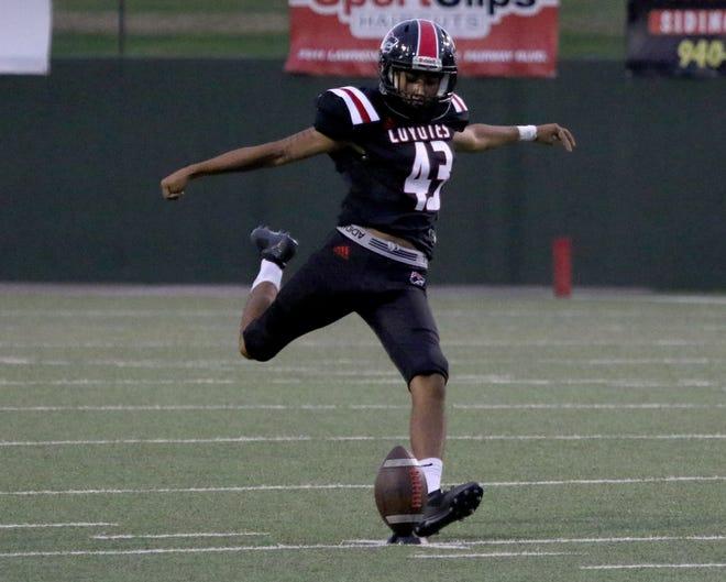 Wichita Falls High's Max Lopez kicks the ball off against Chisholm Trail Thursday, Aug. 29, 2019, at Memorial Stadium.