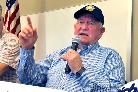 U.S. Agriculture Secretary Sonny Perdue speaks at an Ag Policy Summit during a visit Wednesday, Aug. 28, 2019 to Decatur, Ill.