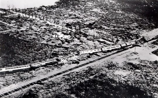 This September 1935 file photo shows the wreckage of a passenger train that was derailed by a Labor Day hurricane in the Florida Keys. The 1935 Labor Day Hurricane, which hit the Florida Keys, was the strongest hurricane to make landfall in the United States, based on barometric pressure.